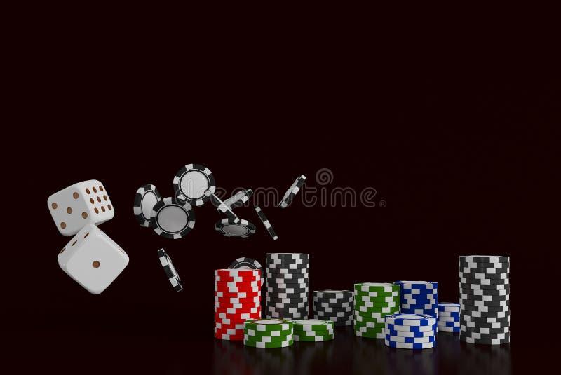 Kasinohintergrundwürfel und -chips Weiße Würfel und Chips auf schwarzem Hintergrund On-line-Kasinokonzept mit Platz für Text lizenzfreie stockbilder