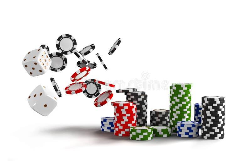Kasinohintergrundwürfel und -chips Weiße Würfel und Chips auf weißem Hintergrund On-line-Kasinokonzept mit Platz für Text lizenzfreie abbildung