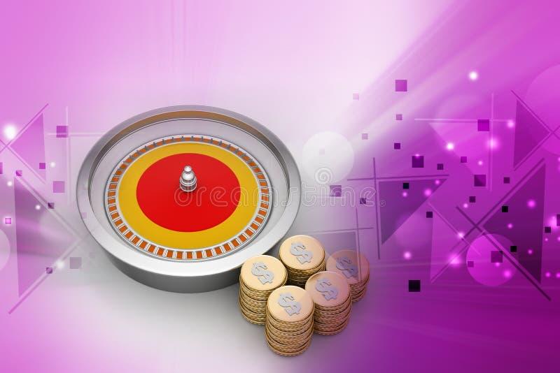 Kasinohjul med guld- mynt stock illustrationer
