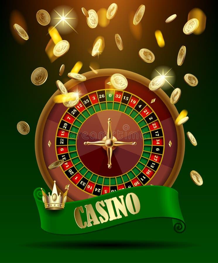Kasinohjulet med det gröna bandet och kronan under guld- pengar regnar royaltyfri illustrationer
