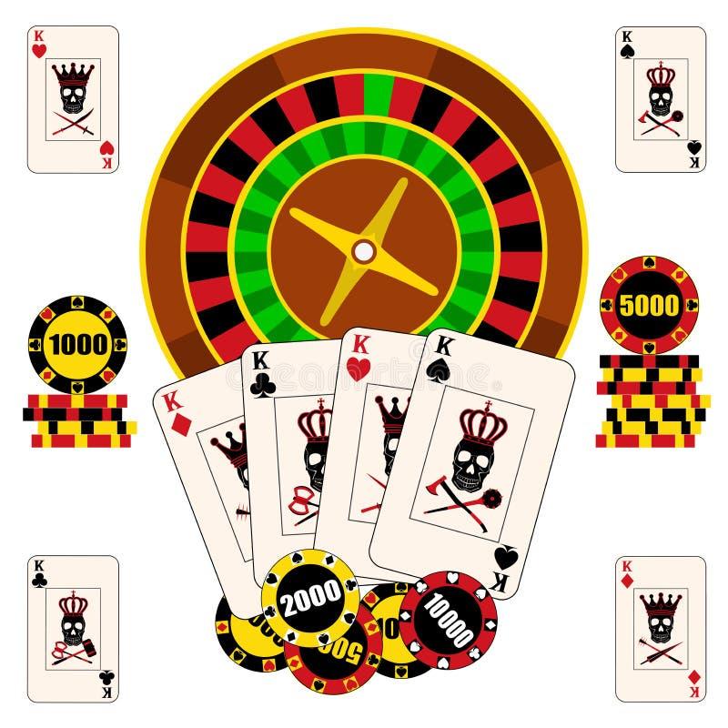 Kasinokomposition mit Roulettekessel, Spielkarten und Chips lizenzfreie abbildung
