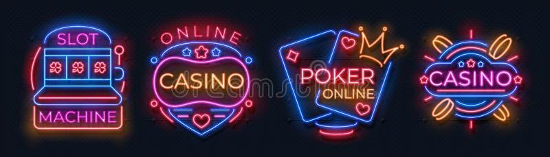 Kasinoleuchtreklamen Spielautomatjackpotfahnen, Schürhakenbar-Nachtanschlagtafel, spielende Roulette Vektorkasinoneon lizenzfreie abbildung