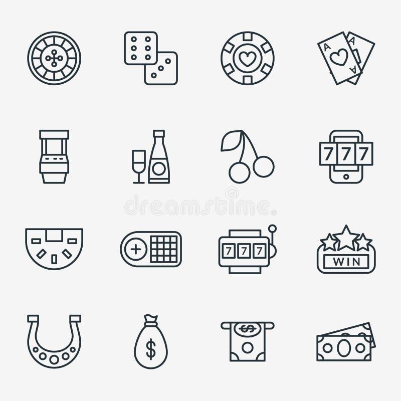 Kasinolinje symboler Pokerklubba och spela linjärt tecken vektor illustrationer