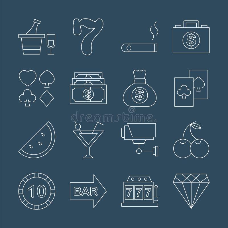 Kasinolinje symbolsuppsättning stock illustrationer