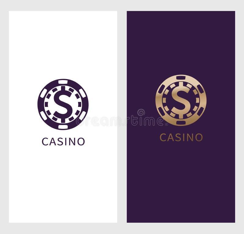 Kasinologobaner, symbol för dollartecken i chip, kungligt etikettsymbol, logotypbegrepp Var passande för reklambladet, affisch stock illustrationer