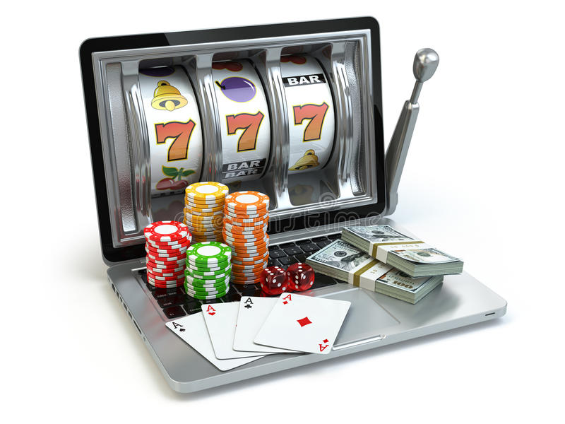 Kasinoonline-begrepp som spelar Bärbar datorenarmad bandit med tärning, royaltyfri illustrationer