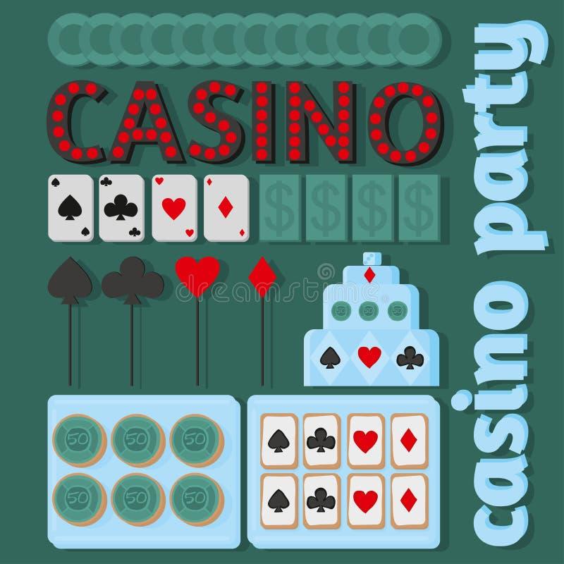 Kasinopartiidéer i plan stil royaltyfri illustrationer