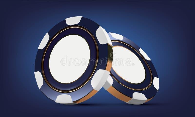 Kasinopokerchips Chips des Kasinospiels 3D On-line-Kasinologo oder -fahne Blauer realistischer Chip Spielendes Konzept, Poker vektor abbildung