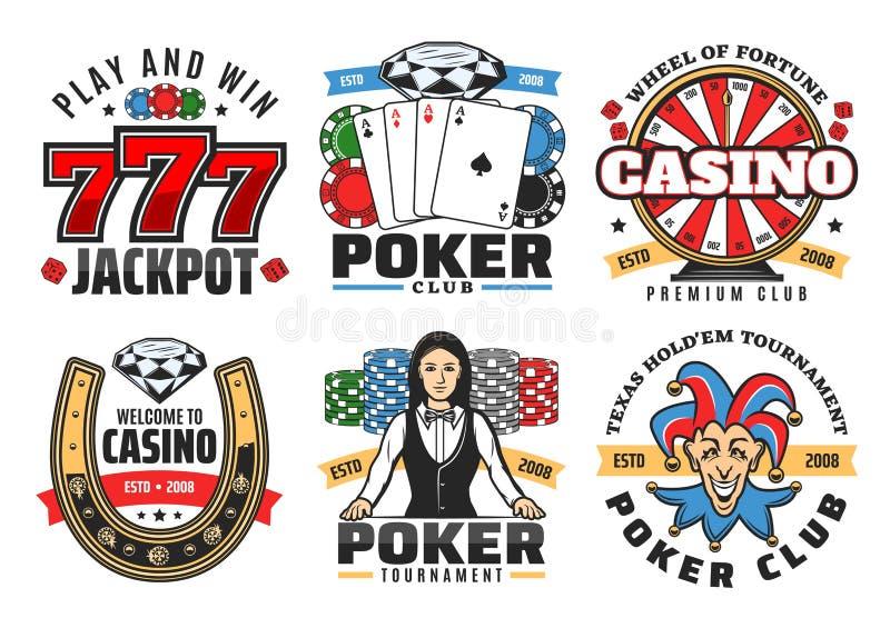 Kasinopokerlek, symboler för jackpottdobblerivektor royaltyfri illustrationer