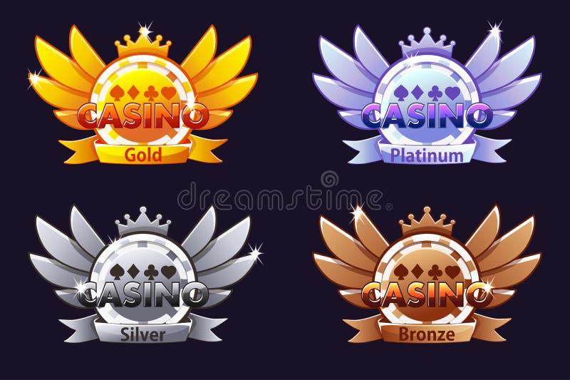 Kasinopreise Veranschlagende Ikonen des Kasinos mit Pokerchip und Krone Vektorillustration für Kasino, Schlitze und Spiel UI stock abbildung