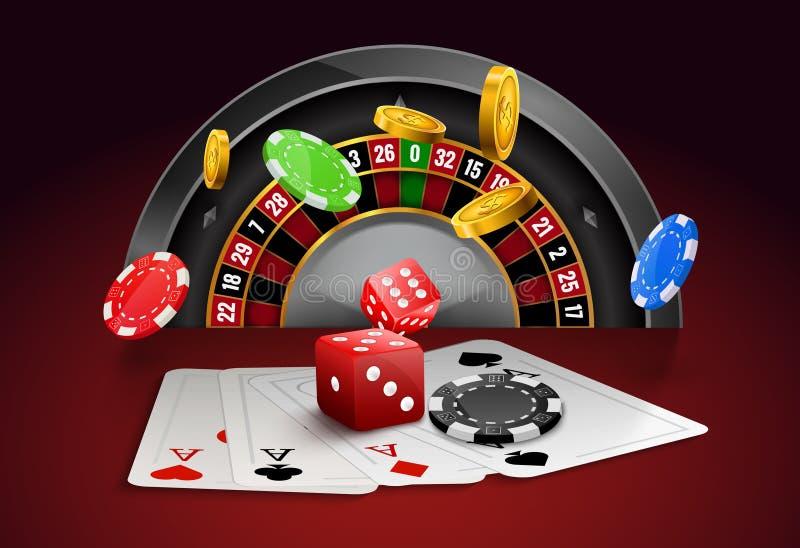 Kasinoroulett med chiper, för dobbleriaffisch för röd tärning realistiskt baner Reklamblad för design för hjul för roulett för ka stock illustrationer