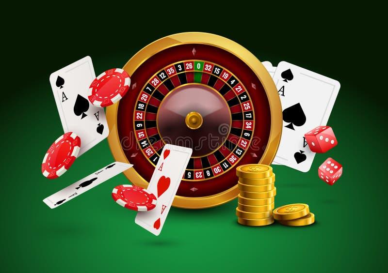 Kasinoroulett med chiper, för dobbleriaffisch för röd tärning realistiskt baner Reklamblad för design för hjul för roulett för ka royaltyfri illustrationer