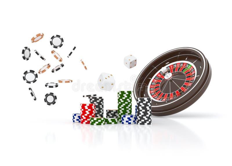 Kasinoroulettekesselchips lokalisiert auf Weiß Chips des Kasinospiels 3D On-line-Kasinofahne Schwarzer realistischer Chip lizenzfreie abbildung