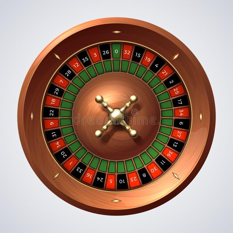 Kasinorouletthjul Isolerat spela den träröda snurrandet, lycklig modig jackpott realistiskt snurrandehjul för roulett 3D royaltyfri illustrationer
