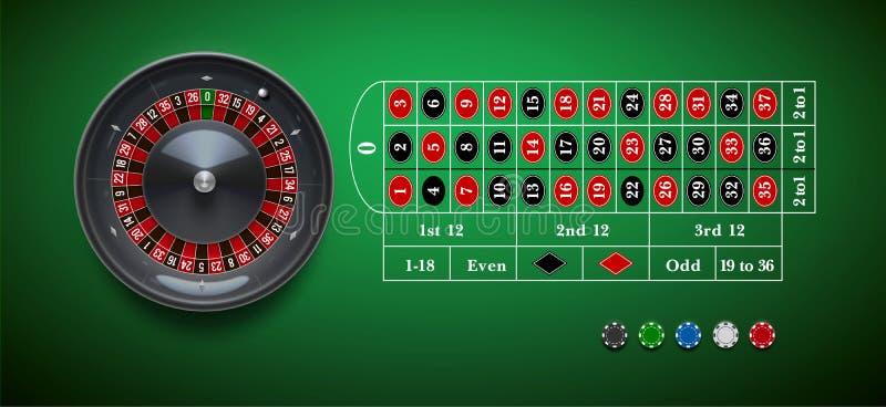 Kasinorouletthjul med chiper på reali för grön tabell royaltyfri fotografi