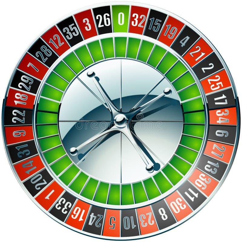 Kasinorouletthjul med krombeståndsdelar vektor illustrationer