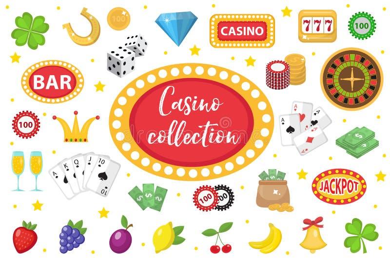 Kasinosamling Spela uppsättningen som isoleras på en vit bakgrund Poker kortspel, enarmad bandit, roulettsats vektor illustrationer