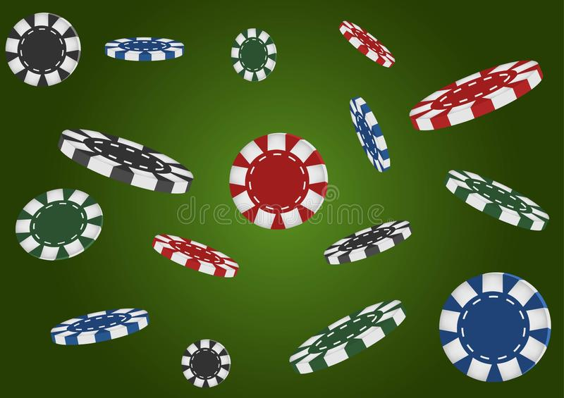 Kasinoschürhaken-Grünhintergrund Fallende Chips, lokalisiert Abstrakte Abbildung 3d Auch im corel abgehobenen Betrag lizenzfreie abbildung