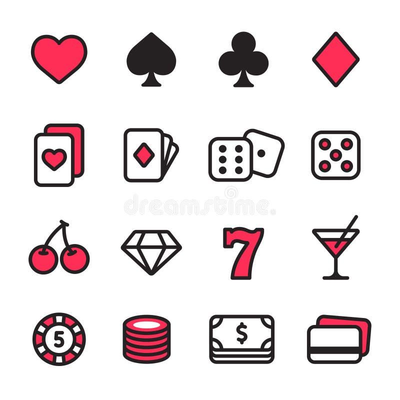 Kasinosymbolsuppsättning stock illustrationer