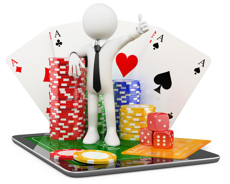 kasinot 3d spelar mannen online stock illustrationer