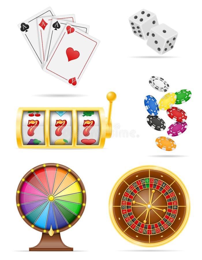 Kasinot anmärker, och lagerför fastställda symboler för utrustning vektorillustrationen vektor illustrationer