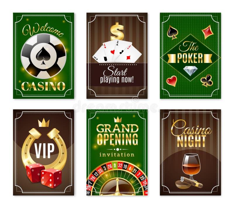 Kasinot Cards Mini Posters Banners Set royaltyfri illustrationer