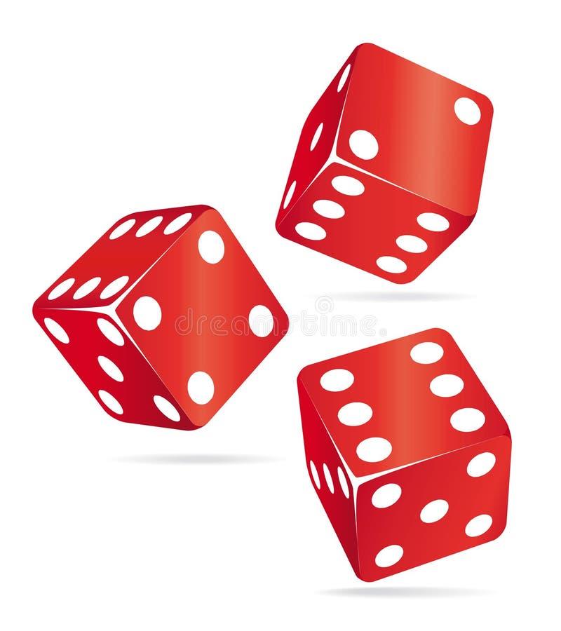kasinot tärnar symbolsred tre royaltyfri illustrationer