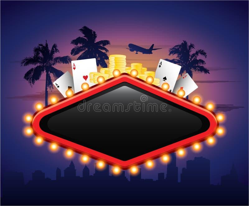 Kasinoweinlese-Fahnenzeichen mit Kartenchips und Palme stock abbildung