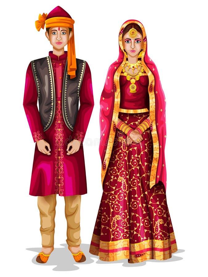 Kasjmier huwelijkspaar in traditioneel kostuum van Jammu en Kashmir, India vector illustratie