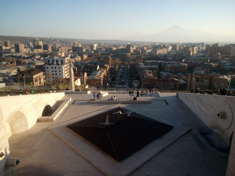 Kaskad i Yerevan fåtöljer arkivfoto