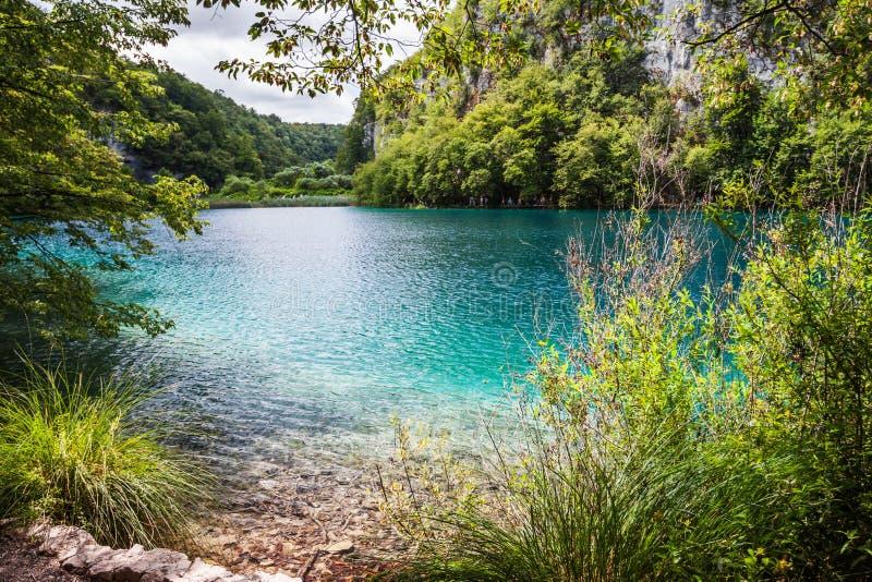 Kaskada jeziora z turkus wodą między skałami w drewnach Plitvice, park narodowy, Chorwacja obraz royalty free