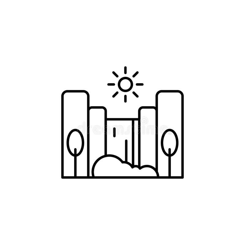 Kaskada, pogodna, drzewna kontur ikona, Element krajobrazy ilustracyjni Znaki i symbolu konturu ikona mogą używać dla sieci, logo royalty ilustracja