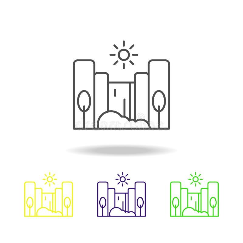 Kaskada, pogodna, drzewo barwił ikonę Może używać dla sieci, logo, mobilny app, UI, UX royalty ilustracja