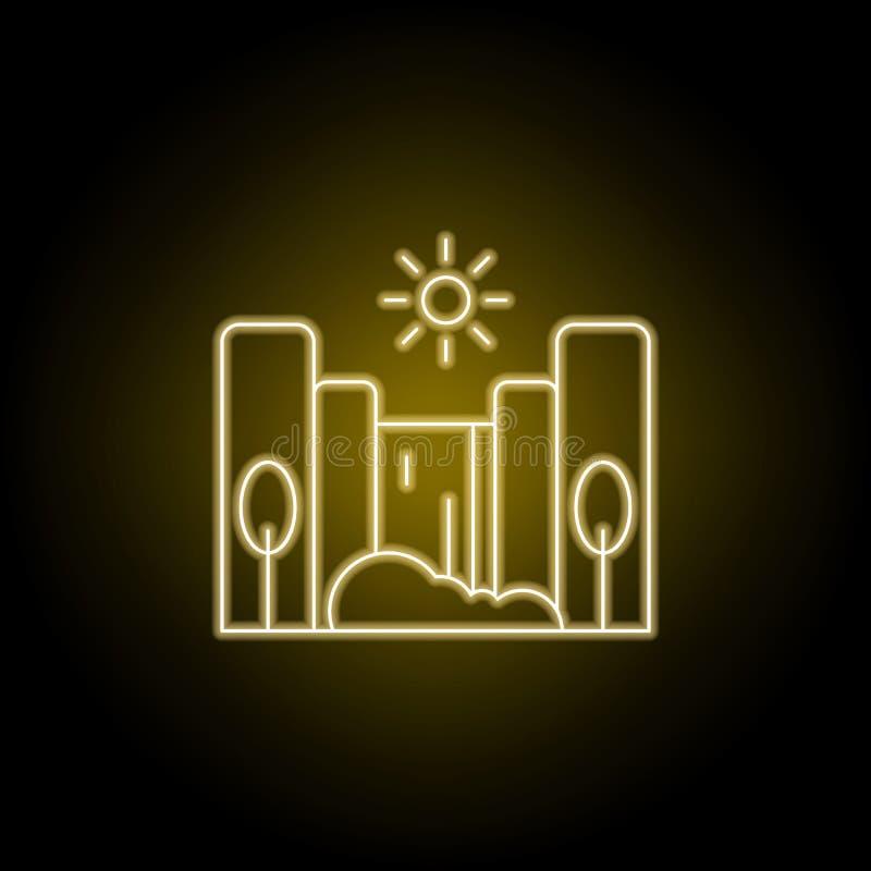 Kaskada, pogodnej, drzewnej linii ikona w żółtym neonowym stylu, Element krajobrazy ilustracyjni Znaki i symbole wykładają ikonę  ilustracja wektor