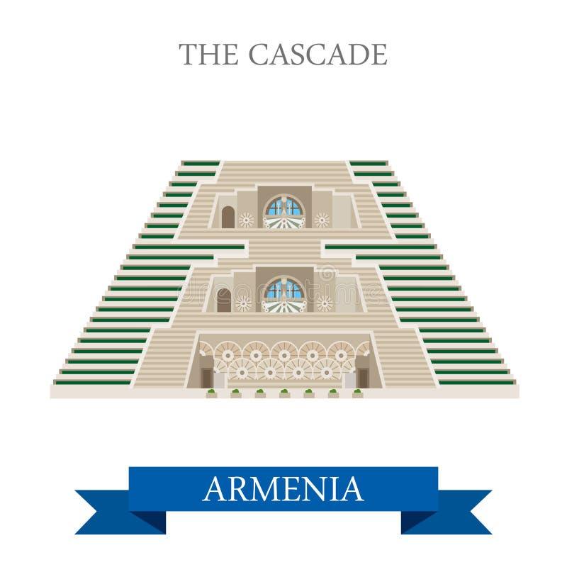 Kaskada w Armenia punktów zwrotnych wektorowym płaskim przyciąganiu royalty ilustracja