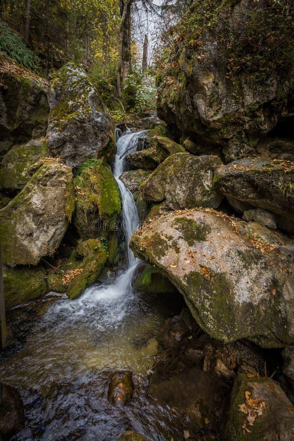 Kaskaden über moosige Felsen bei Myrafalle stockfotografie