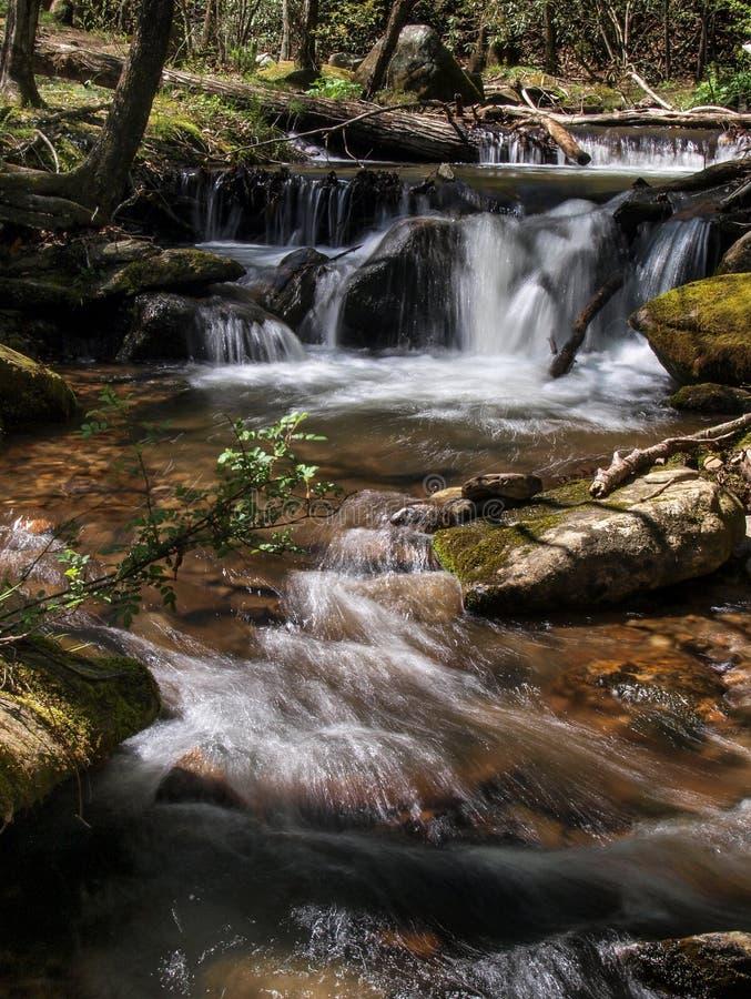 Kaskaden unterhalb der Nebenfluss-der F?lle der Witwe am Steingebirgsnationalpark stockbilder