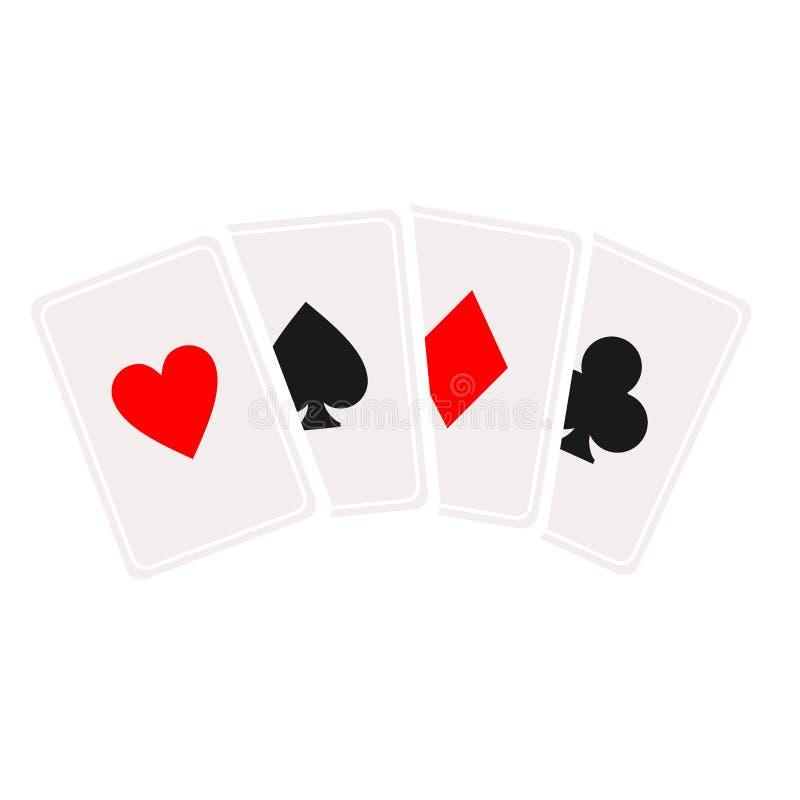 Kaskadowa karciana ikona Karta do gry symbol, logo ilustracja Wektor odizolowywa na bia?ym tle Kasyno znak _ ilustracja wektor
