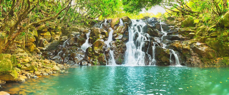 Kaskadowa Vacoas siklawa Mauritius panorama fotografia stock