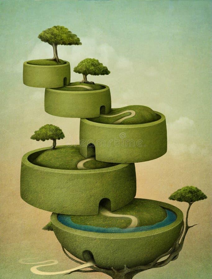 kaskadowy drzewo ilustracja wektor