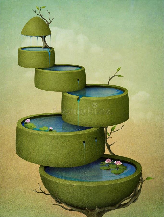 kaskadtree vektor illustrationer