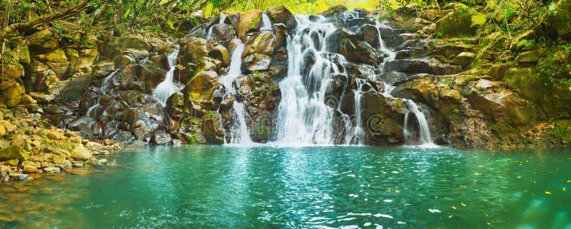 KaskadVacoas vattenfall mauritius panorama fotografering för bildbyråer