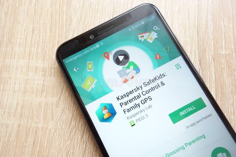 Kaspersky skrytki dzieciaki: Kontrola Rodziców i rodziny GPS app na google play store stronie internetowej wystawiającej na Huawe zdjęcie stock