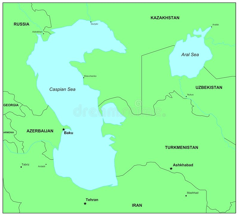 Kaspische Overzees vector illustratie