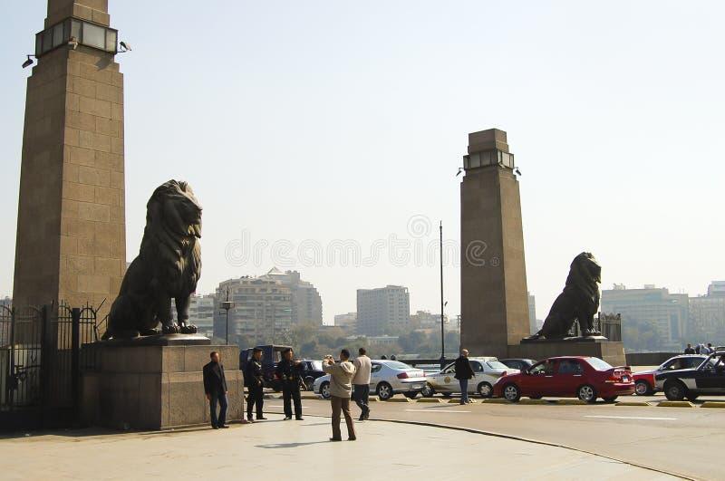 Kasr Al Nile Bridge Entrance - Kairo stockbild