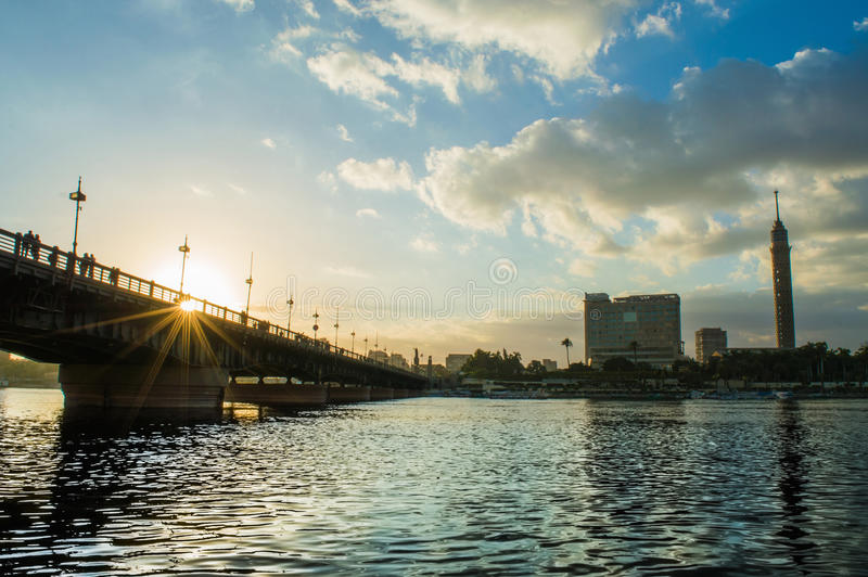 Kasr el nile bridge. Tourists usually come to ride a boat in the Nile during the golden hour stock photo