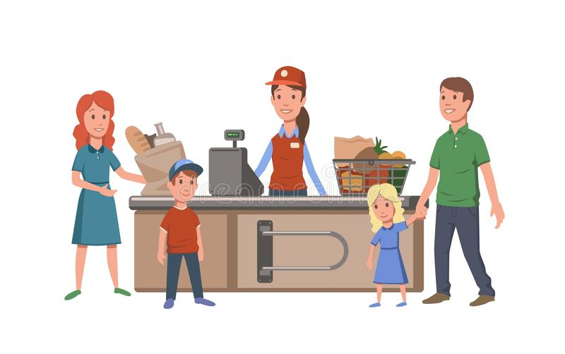 Kassörska och kunder på kassaapparaten i servicebutik Familjköpandemat i supermarket Plan vektor royaltyfri illustrationer