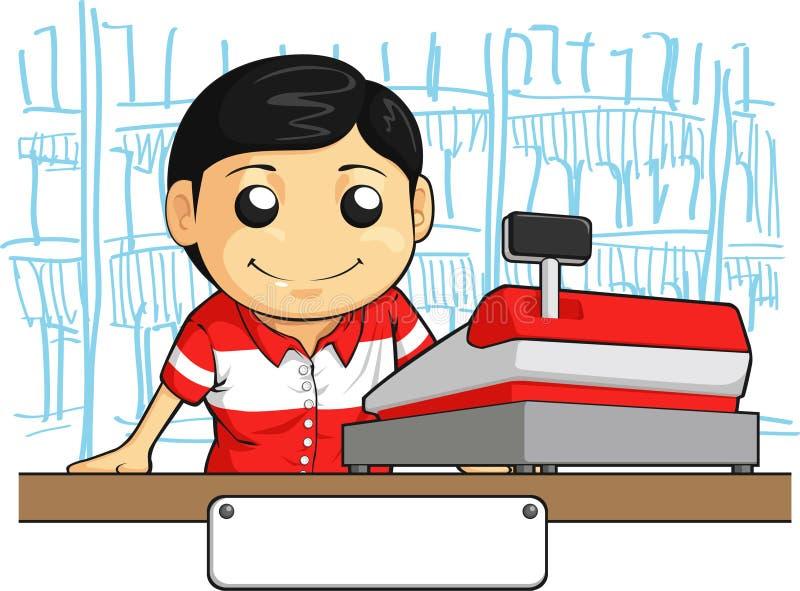 Kassörskaanställd med vänligt leende stock illustrationer