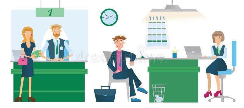 Kassörskor eller finansiella rådgivare och bankkunder Vektorillustration som isoleras på vit bakgrund vektor illustrationer