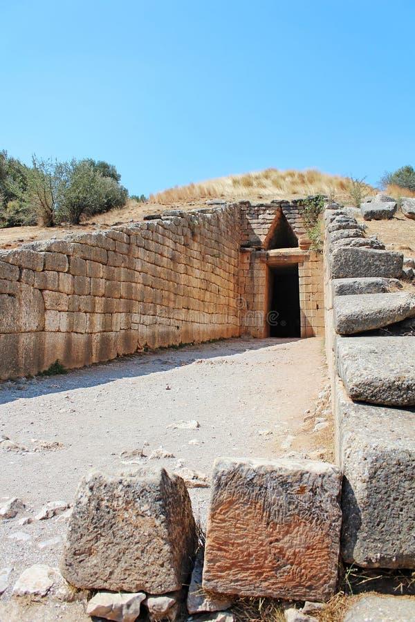 Kassa av Atreus i Mycenae royaltyfria foton